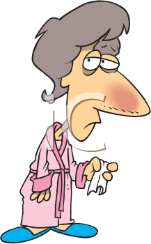 Royalty Free Clipart Image of a Sick Woman