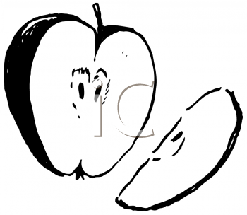 Royalty Free Clipart Image of a Cut Apple