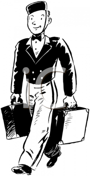 Royalty Free Clipart Image of a Bellboy