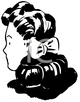 Royalty Free Clipart Image of the Back of a Woman's Head