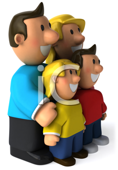 Royalty Free Clipart Image of a Family Looking to the Left