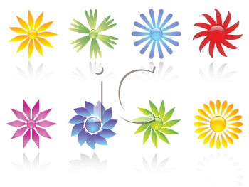 Various different coloured flower icons