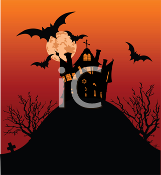 Royalty Free Clipart Image of a Spooky Haunted House on Top of a Hill