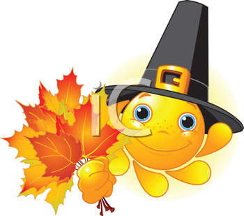 Cartoon Character of Cute  Sun with pilgrim hat holding autumn leaves