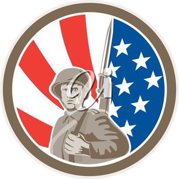 Illustration of an american world war two soldier serviceman military with bayonet set inside circle on stars and stripes background done in retro style.