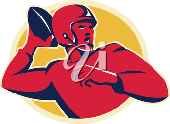 vector illustration of an american quarterback football player shouting throwing passing ball set inside circle done in retro style.