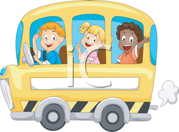 Royalty Free Clipart Image of Children on a School Bus
