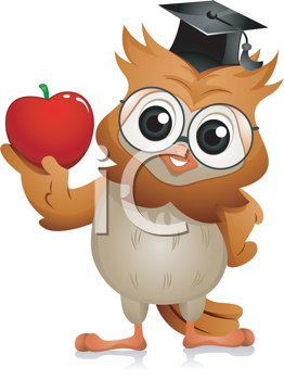 Royalty Free Clipart Image of an Owl Holding an Apple