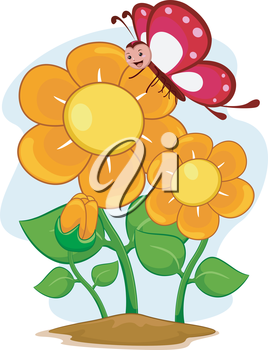 Illustration of a Happy Butterfly Mascot with Flowers