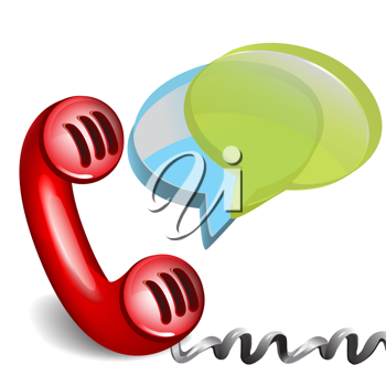 red retro phone with dialog chat boxes isolated