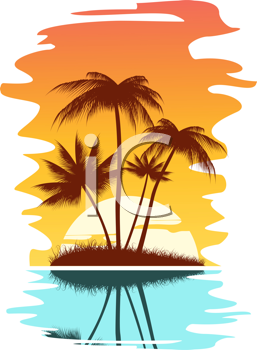 Royalty Free Clipart Image of Tropical Trees