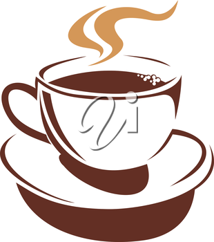 Vector doodle sketch in shades of brown of a delicious hot cup of steaming coffee or tea for a cold winter day