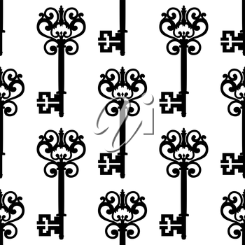 Medieval vintage keys with ornamental bows black and white seamless pattern, for background or retro textile design