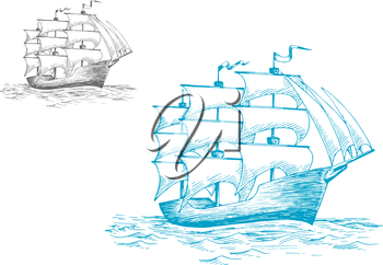 Three masted old wooden schooner or tall ship under full sail on the ocean, sketch image