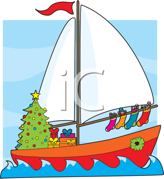 Royalty Free Clipart Image of a Sailboat With a Christmas Tree, Presents and Stockings