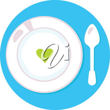 Love soup isolated on blue. Vector Illustration