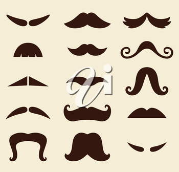 Vector vintage Mustaches set isolated on yellow