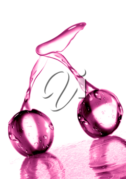 Royalty Free Clipart Image of Cherries on Water