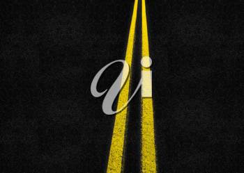Royalty Free Photo of a Solid Yellow Line on a Highway