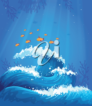 Illustration of a wave and fishes under the sea