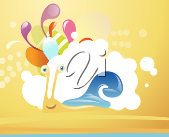 Funny snail on tropical  beach.EPS10. Contains transparent objects used in bubbles and shadows