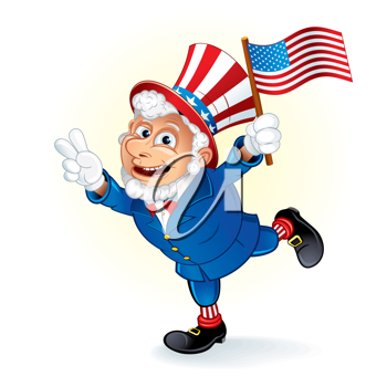Happy Cartoon Uncle Sam with American Flag, detailed vector illustration