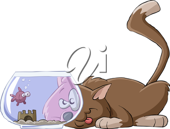 Royalty Free Clipart Image of a Cat and an Aquarium