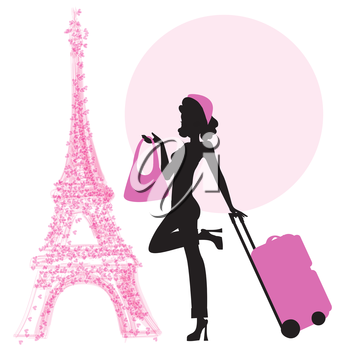 young  woman with suitcase in Paris, illustration in vector format