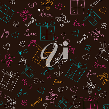 hand draw texture - seamless pattern with hearts, gifts, butterflies, flowers and texts, vector illustration