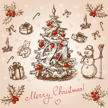Hand drawn christmas card in vintage stile
