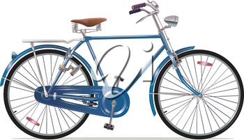The old blue classic bicycle. This is the great example of an old retro bikes.