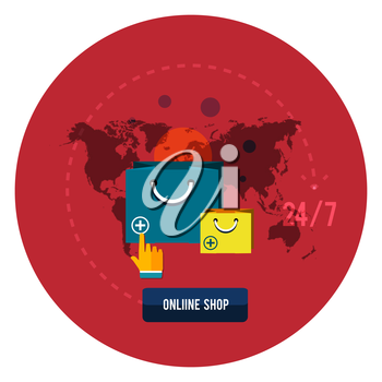 Online shopping concept with icons of retail commerce and marketing elements. 24 hours service