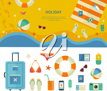 Summertime traveling template with beach summer accessories, illustration and icon set flat design of traveling, holiday. For web banners, promotional materials, presentation templates