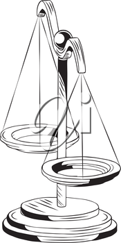 Set of old scales with dual pans for weighing objects, also conceptual of justice and equality, black and white hand-drawn vector illustration