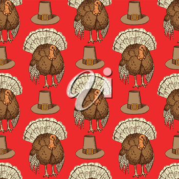 Sketch Thanksgiving hat and turkey in vintage style, vector seamless pattern