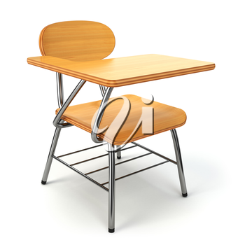 Wooden school desk and chair isolated on white. 3d