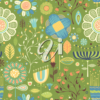 Seamless pattern with various flowers.