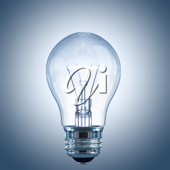 Light bulb with a glowing filament