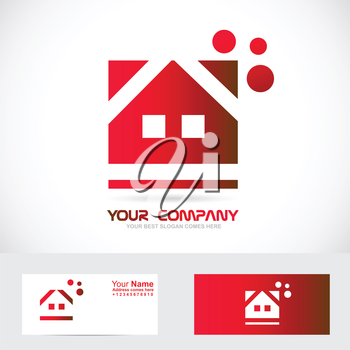 Vector company logo icon element template of red house for real estate