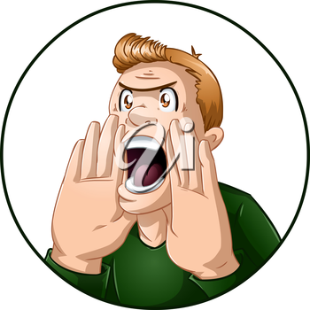 Royalty Free Clipart Image of an Angry Guy Yelling