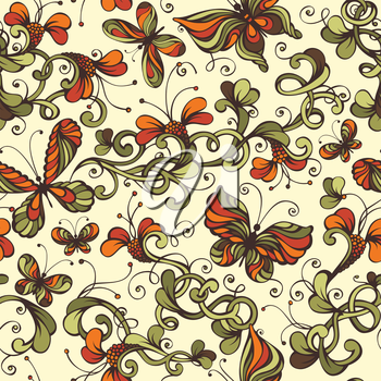 Ornate nature background with floral elements and butterflies.