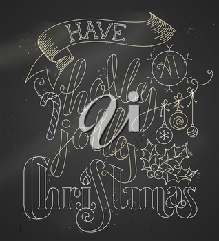 Chalk outline lettering on blackboard background. Hand-drawn candy cane, Christmas baubles, ribbon and holly berry.