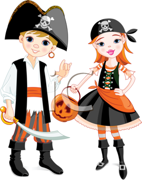 Royalty Free Clipart Image of a Boy and a Girl Dressed as Pirates