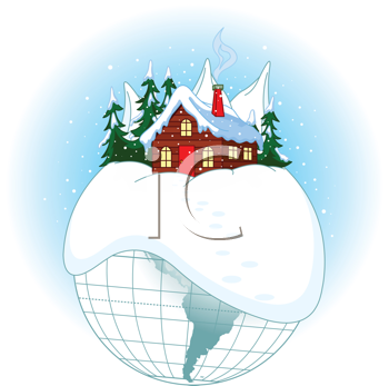 Illustration of Christmas planet with Santa�s home