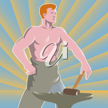 Vector illustration of a blacksmith with hammer and anvil done in the retro style.