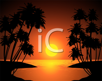 Royalty Free Clipart Image of a Sunset Over Water