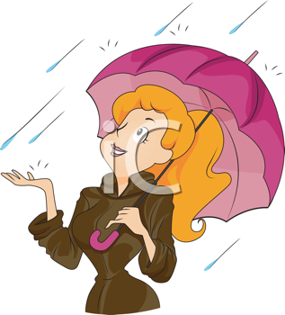 Royalty Free Clipart Image of a Woman With an Umbrella in the Rain