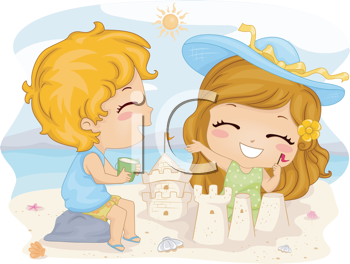 Royalty Free Clipart Image of Children Making Sandcastles