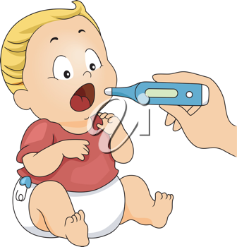 Illustration of a Baby with His Temperature Being Taken