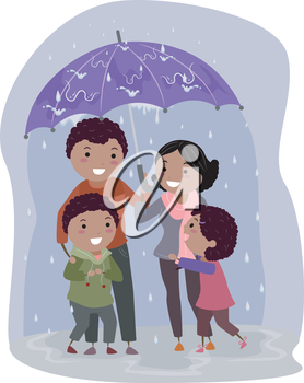 Illustration of Stickman Family Under an Umbrella Sheltering From the Rain